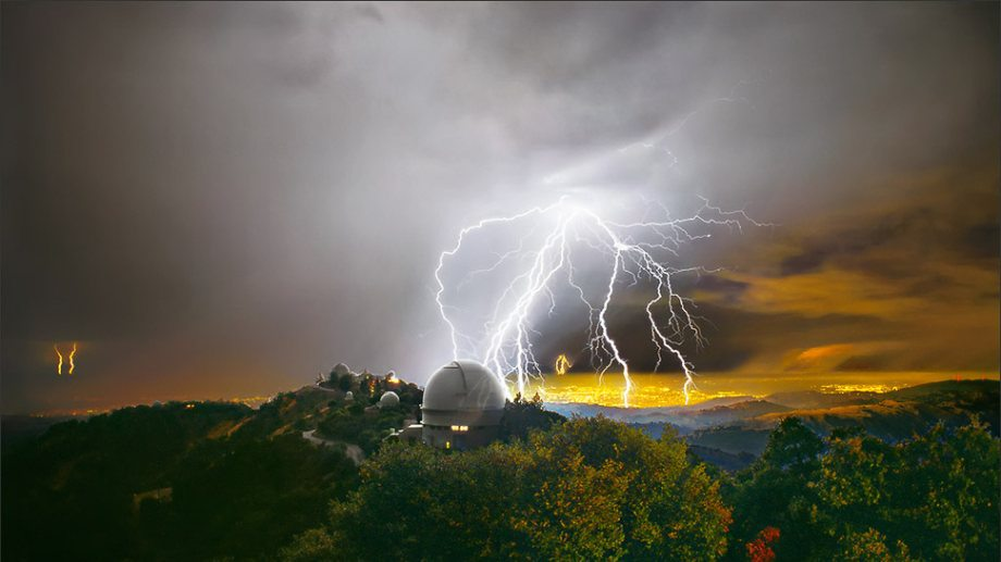 0002_Lightning © 1999 Laurie Hatch, image and text - LICK OBSERVATORY - Mt. Hamilton Californian - 1999 September 8 - In this one-minute time exposure looking west from Kepler Peak, a turbulent cloud hurtles lightning into Mt. Hamilton foothills. Across Silicon Valley, more bolts shock the Santa Cruz Mountains twenty miles away. Thunder rumbles across hillsides announcing repeated strikes. Sheets of rain drench valley neighborhoods. It is a spectacle of rare intensity on Mt. Hamilton, and one that will continue past daybreak. Domes remain closed for the duration of the storm, shielding telescopes from the assault. - The photographer thanks UCO / Lick Observatory staff for their continual and enthusiastic support. - A VIEW FROM LICK OBSERVATORY - Lick Observatory crowns the 4,200-foot Mt. Hamilton summit above Silicon Valley in central California. This research station serves astronomers from University of California campuses and their collaborators worldwide. Eccentric Bay Area tycoon and philanthropist James Lick (1796-1876) bequeathed funding for construction which spanned from 1880 to 1887, fulfilling his vision of the Observatory as a premier astronomical facility. In 1959, the Shane 3-meter reflecting telescope was completed on Mt. Hamilton. It continues to provide data for forefront research and engineering programs. In total, the mountain top is home to ten telescopes which are supported by resident staff and by headquarters at UC Santa Cruz. Acclaimed for academic excellence, technical expertise, and superior instrumentation, Lick Observatory probes the expanding frontiers of space. - EXPOSURE DATA: Nikon N90s, Nikkor 20mm f/2.8 lens Kodak Supra 100 Color Negative film Exposure: 1 minute @ f/8 - FOR MORE INFORMATION: http://www.ucolick.org, - Lightning safety: http://www.lightningsafety.noaa.gov/distance.htm, lh@lauriehatch.com, http://www.lauriehatch.com